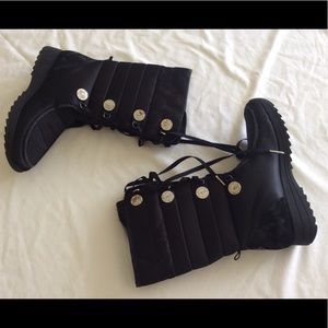 Baby Phat black quilted signature boots